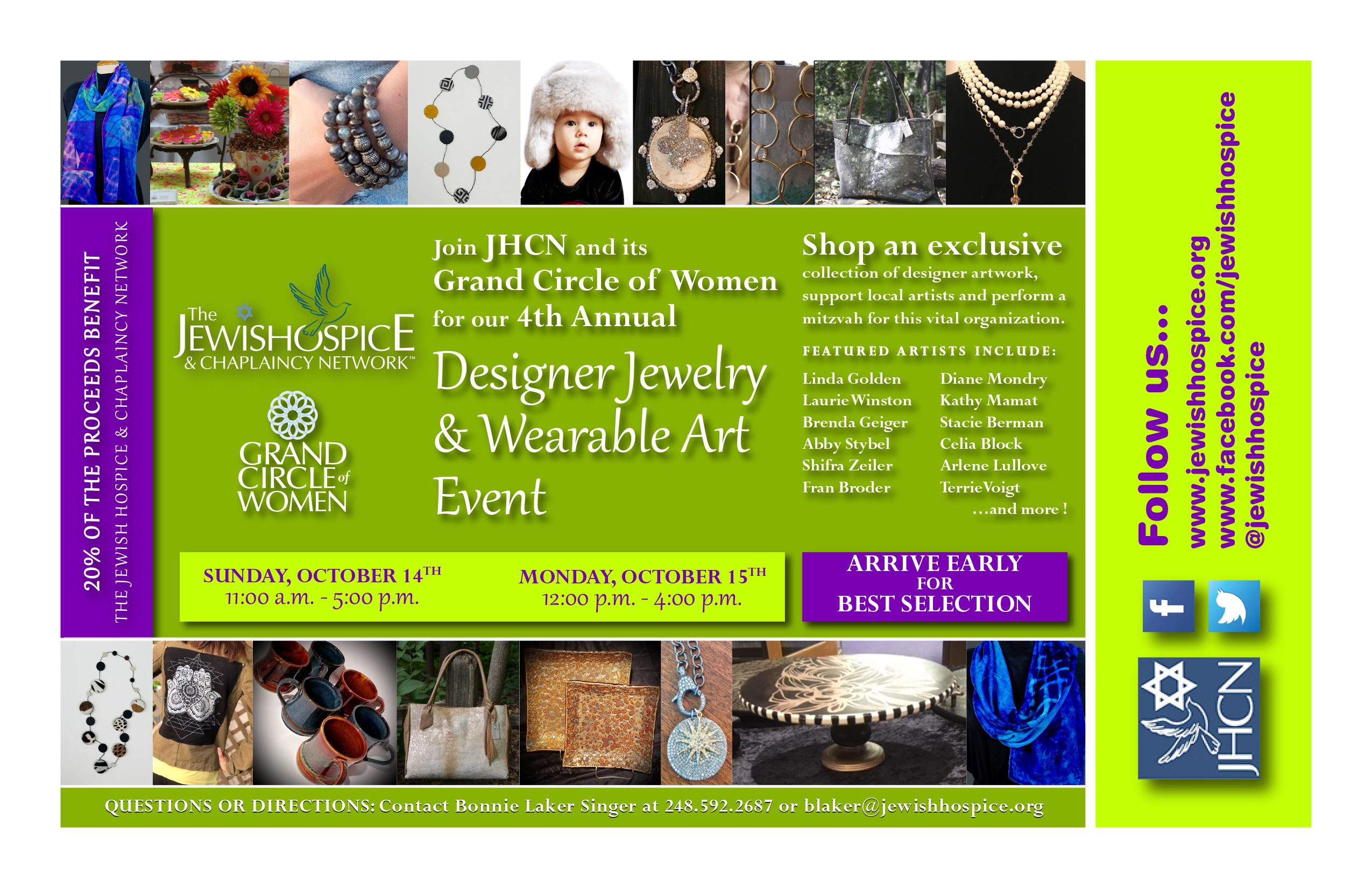 gcow wearable art jewelry event jewish hospice
